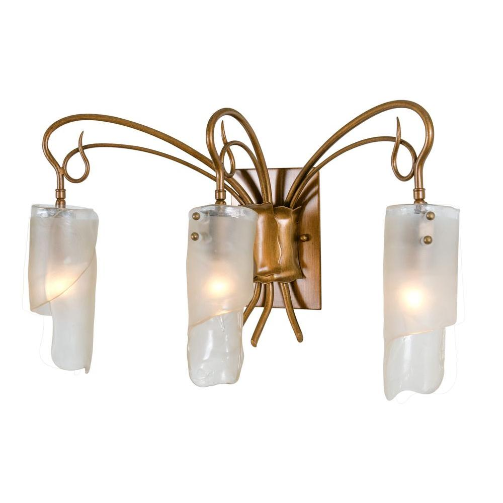Varaluz Soho 3-Light Hammered Ore Vanity Light with Brown Tint Ice Glass