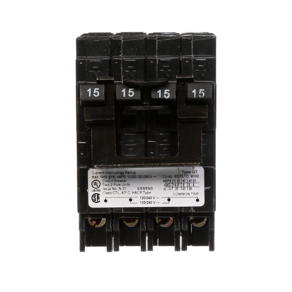(2) 15 Amp Double-Pole Type QT Quad Circuit Breaker