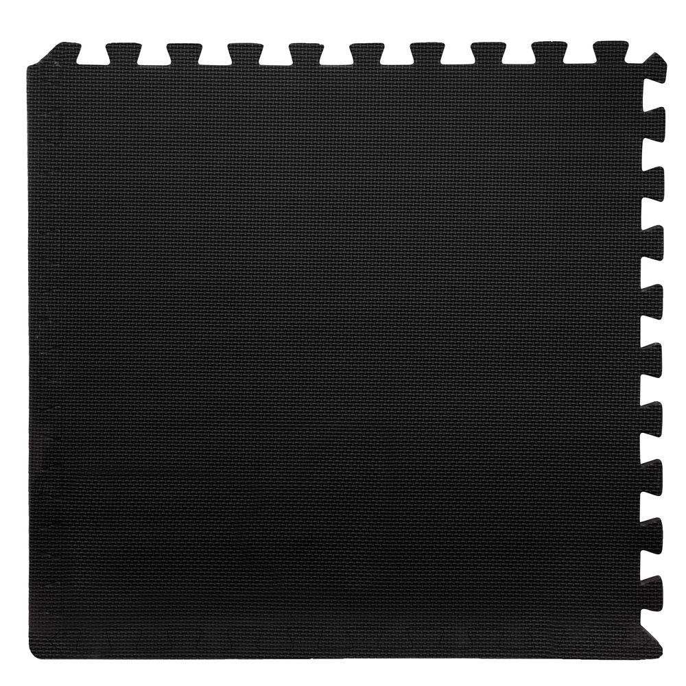 Black 24 in. x 24 in. x 0.375 in. Interlocking EVA