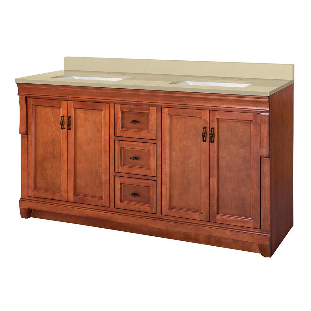 Home Decorators Collection Naples 61 in. W x 22 in. D Vanity in Warm Cinnamon with Engineered Marble Vanity Top in Crema Limestone with White Sink was $1599.0 now $1119.3 (30.0% off)