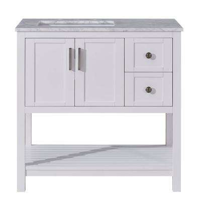 36 in. W x 22 in. D Bath Vanity in Whitey with Marble Vanity Top in Carrara White with White Basin