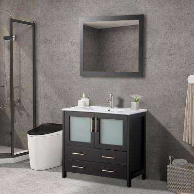 36 in. W x 18 in. D x 36 in. H Bathroom Vanity in Espresso with Single Basin Vanity Top in White Ceramic and Mirror