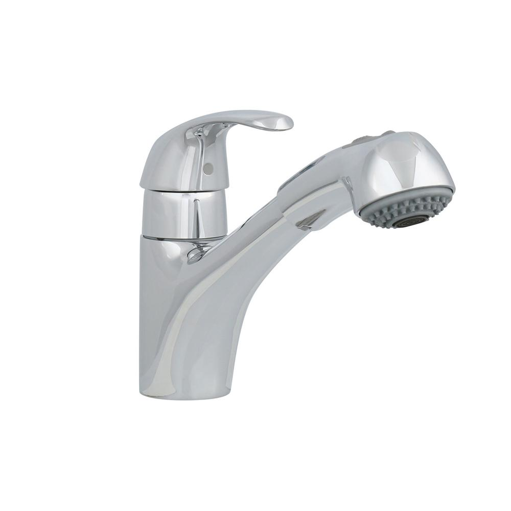 GROHE Alira Single Handle Pull Out Sprayer Kitchen Faucet In Chrome