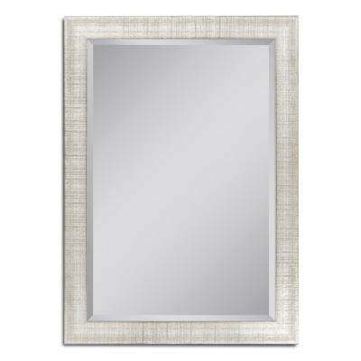 36 in. W x 46 in. H Textured Mesh Wall Mirror in Platinum
