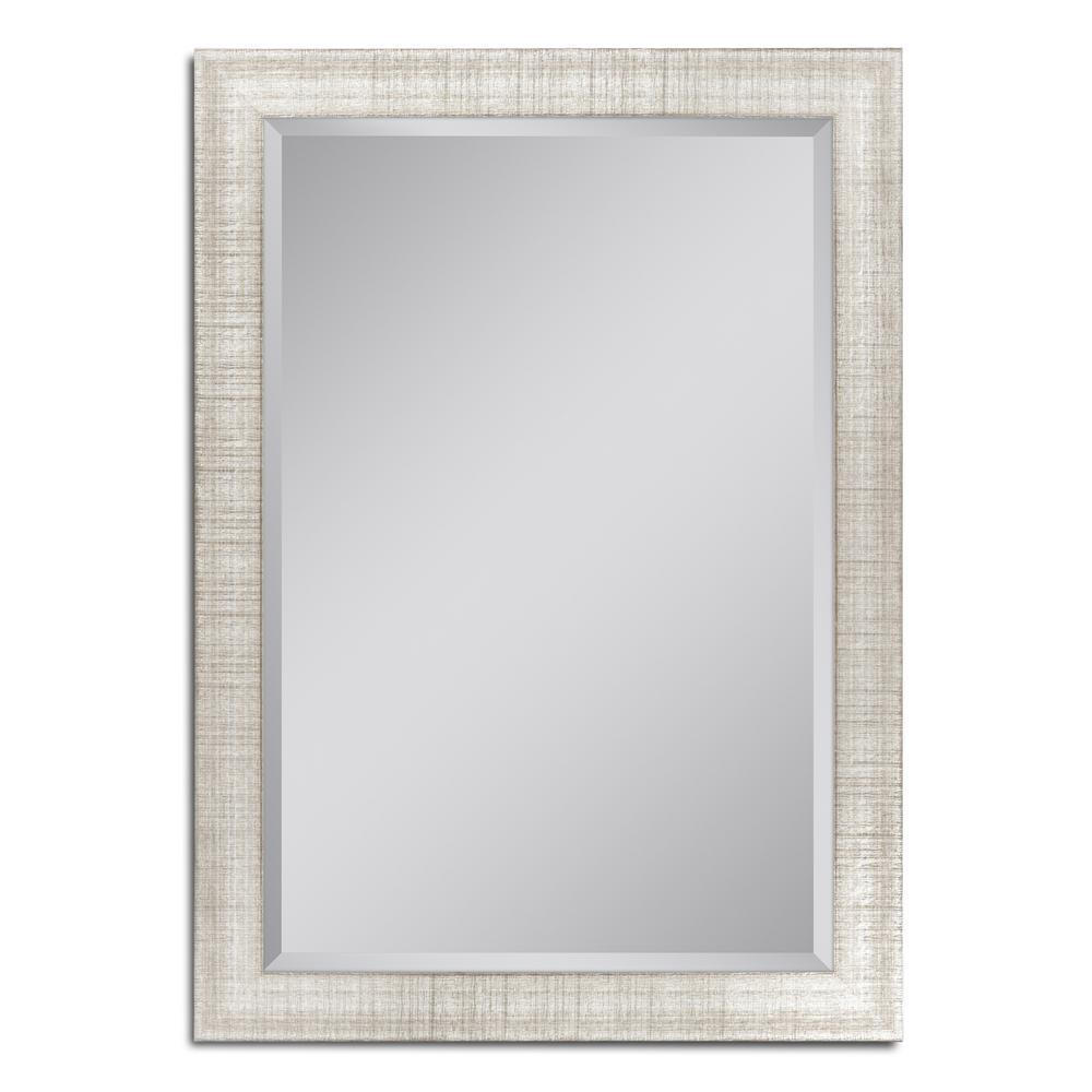 Deco Mirror 36 in. W x 46 in. H Textured Mesh Wall Mirror in Platinum
