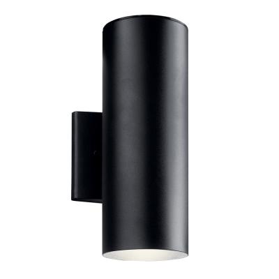 Independence 12 in. 1-Light Textured Black Integrated LED Outdoor Wall Cylinder Light