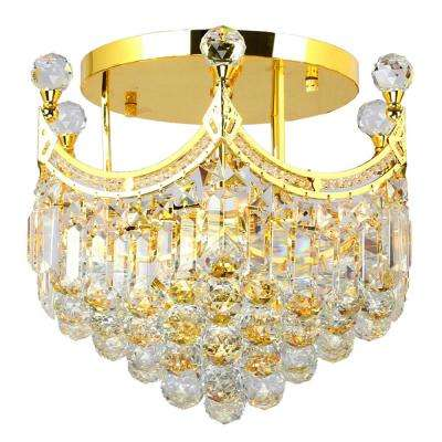 Empire Collection 6-Light Gold and Crystal Semi-Flush Mount Light