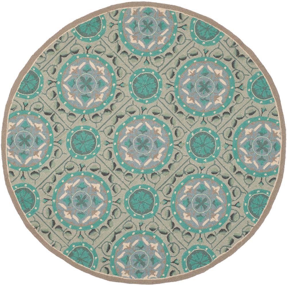 Safavieh Four Seasons Mint/Aqua 4 Ft. X 4 Ft. Round Area