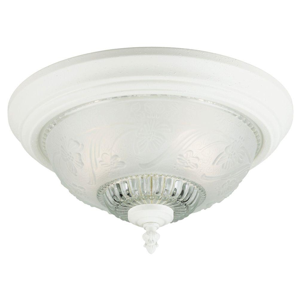 Westinghouse 2 Light Textured White Interior Ceiling Flushmount With Embossed Floral And Leaf