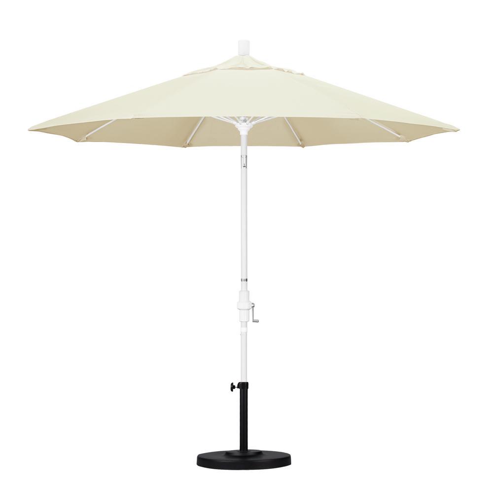 California Umbrella 9 Ft Matted White Aluminum Market Patio Umbrella With Fiberglass Ribs Collar Tilt Crank Lift In Canvas Sunbrella Gscuf908170 5453 The Home Depot
