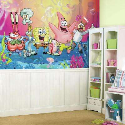 72 in. x 126 in. SpongeBob Square Pants XL Chair Rail 7-Panel Pre-Pasted Wall Mural