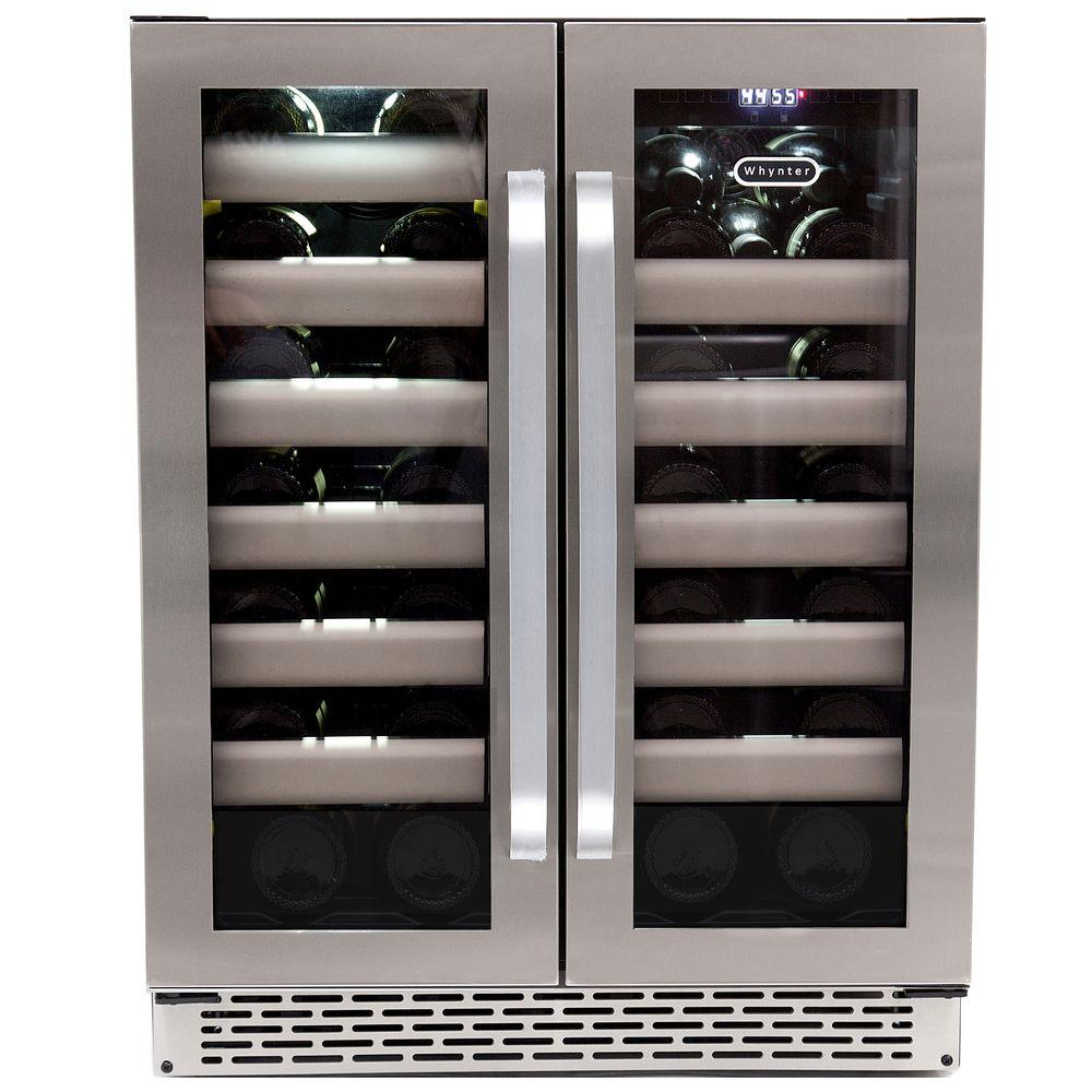 Whynter Elite 40 Bottle Seamless Stainless Steel Door Dual