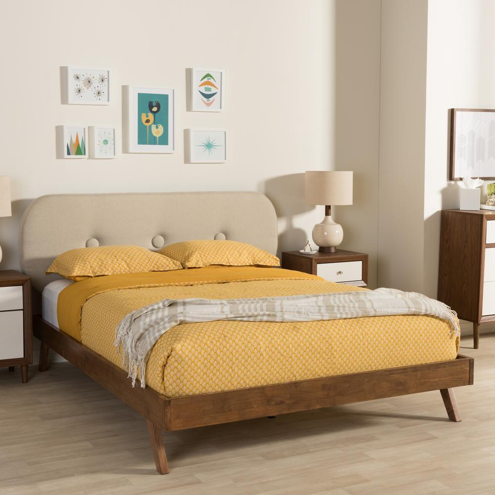 Penelope Mid-Century Beige Fabric Upholstered Queen Size Bed