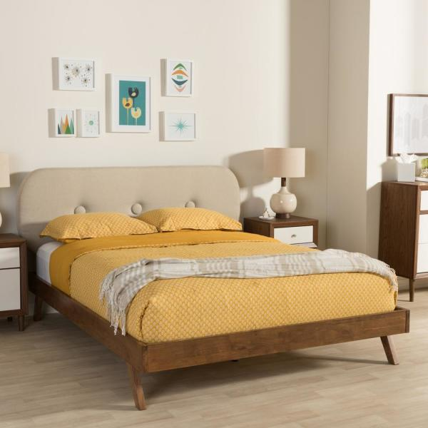 Penelope Mid-Century Beige Fabric Upholstered King Size Bed