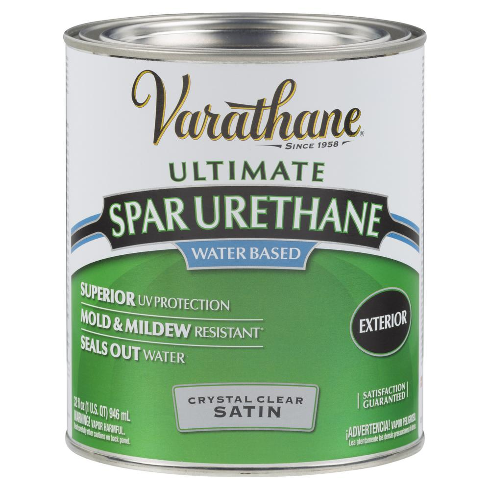Varathane 1 qt. Clear Satin Water-Based Outdoor Spar Urethane (2-Pack)