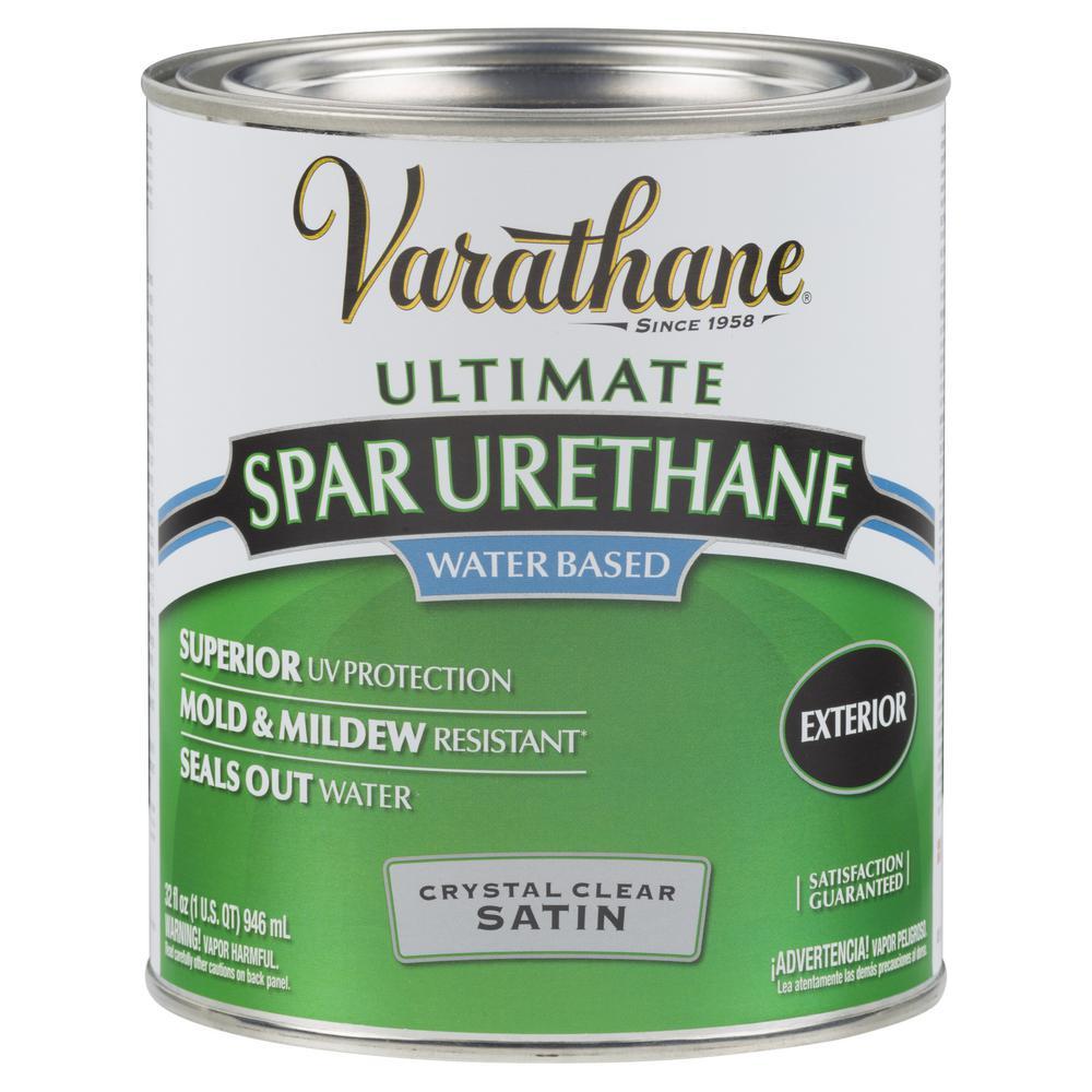 1 qt. Clear Satin Water-Based Outdoor Spar Urethane (2-Pack)