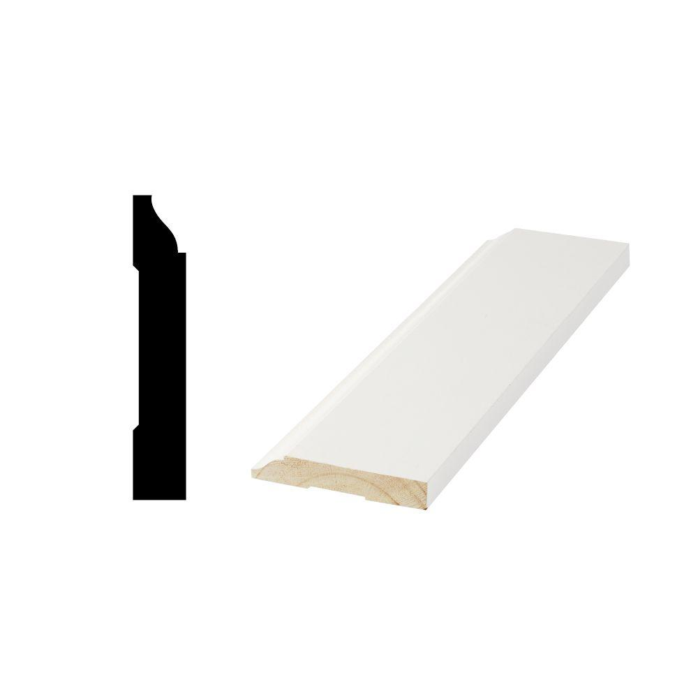 Woodgrain Millwork WM 623 9/16 in. x 3-1/4 in. x 96 in. Primed Finger-Jointed Base Moulding