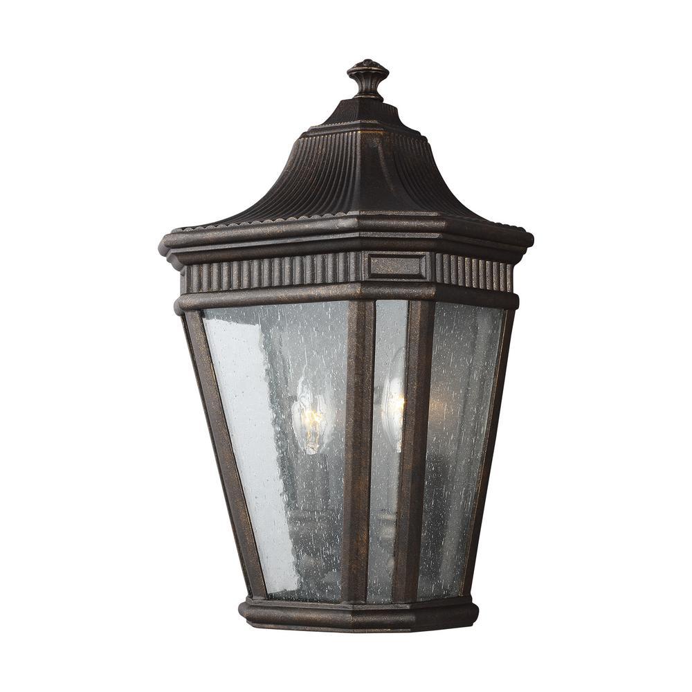 Cotswold Lane 2-Light Grecian Bronze Outdoor Wall Mount Lantern