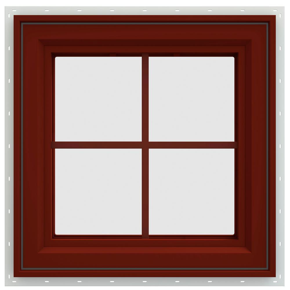 23.5 in. x 23.5 in. V-4500 Series Left-Hand Casement Vinyl Window with Grids - Red
