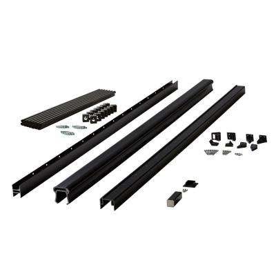 Symmetry 6 ft. Serene Black Capped Composite Stair Rail Section with 36 in. Aluminum Balusters