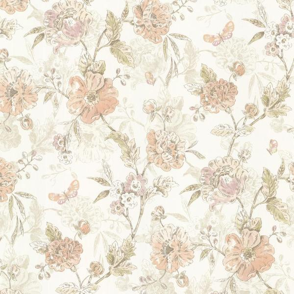 Brewster 56.4 sq. ft. Beecroft Peach Butterfly Peony Trail Wallpaper 347-20110