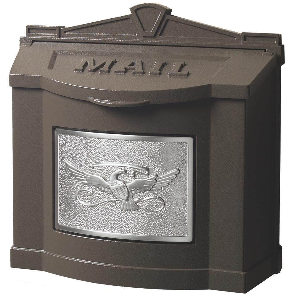 Gaines Manufacturing Eagle Accent Wall Mount Mailbox Bronze with Satin Nickel
