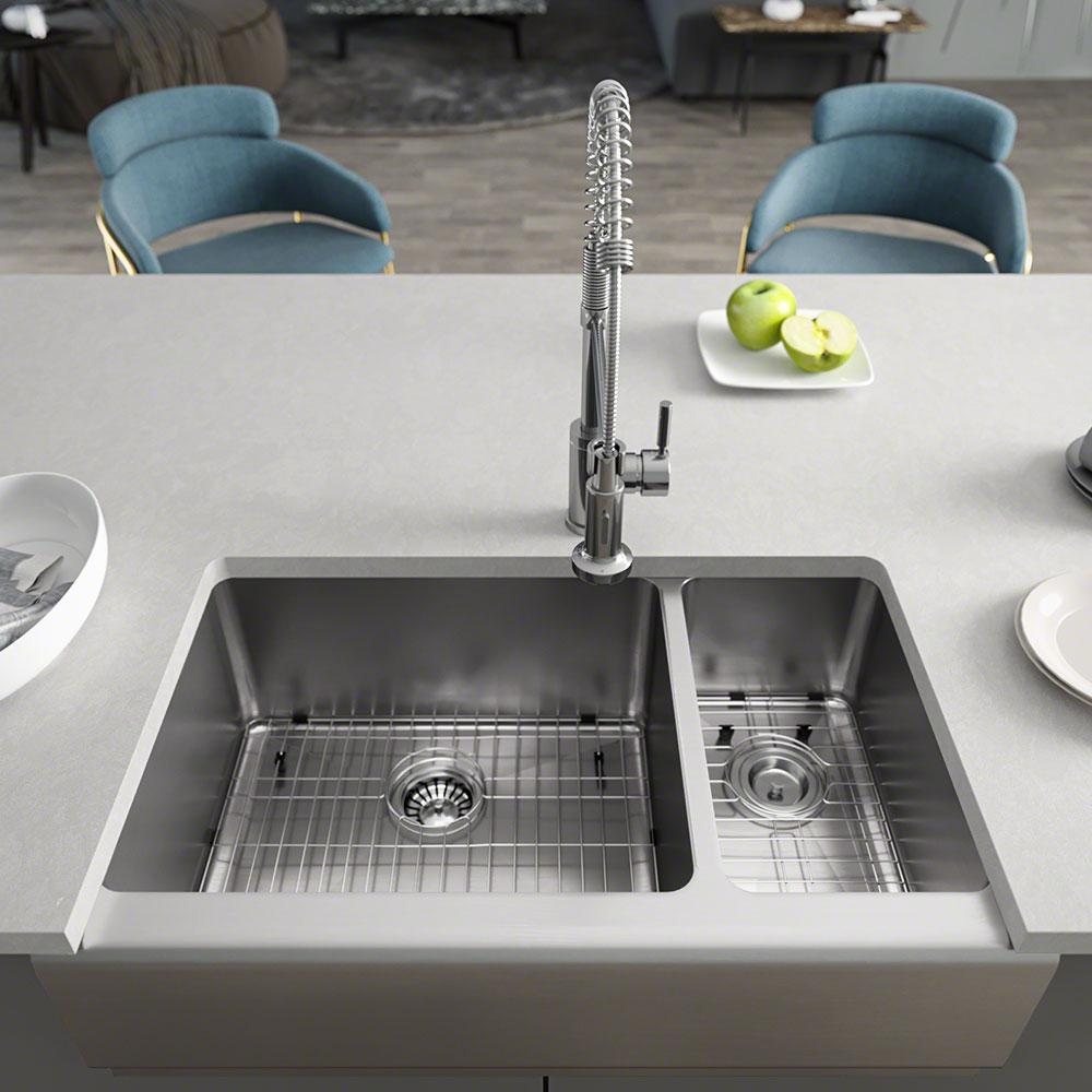 Rene Farmhouse Apron Front Stainless Steel 32-3/4 in. Left Double Bowl  Kitchen Sink