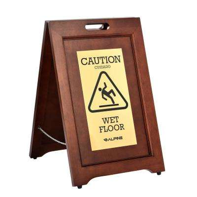 24 in. 2-Sided Brass Plated Wooden Bilingual Wet Floor Sign