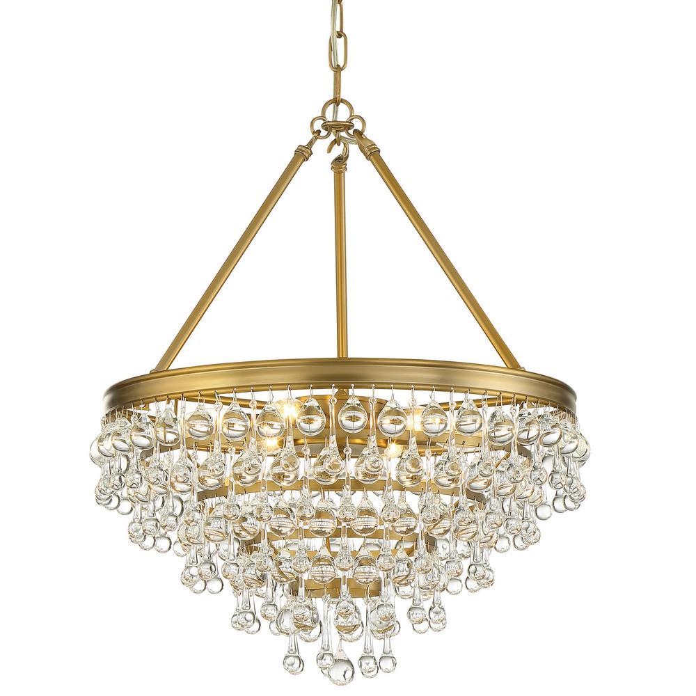 Crystorama Calypso 6-Light Crystal Teardrop Vibrant Gold Chandelier