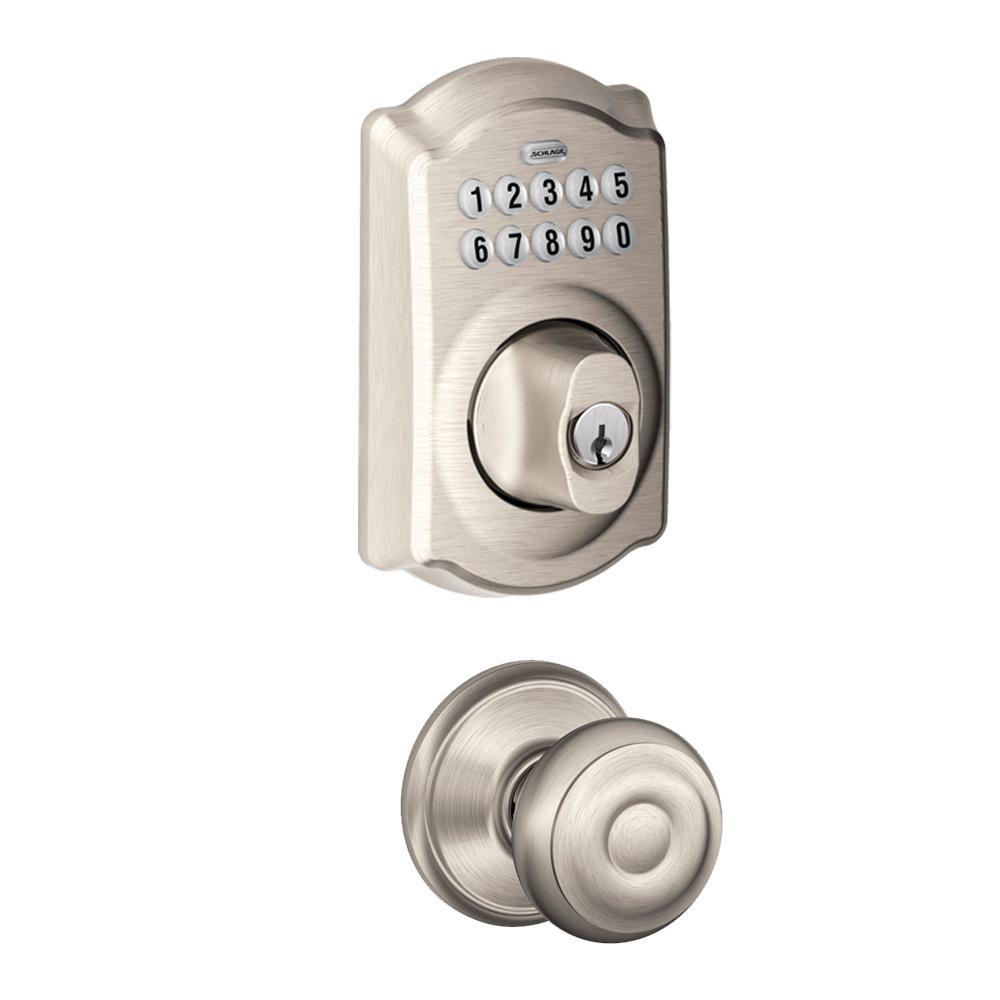 Camelot Satin Nickel Keypad Electronic Door Lock Deadbolt and Georgian Knob
