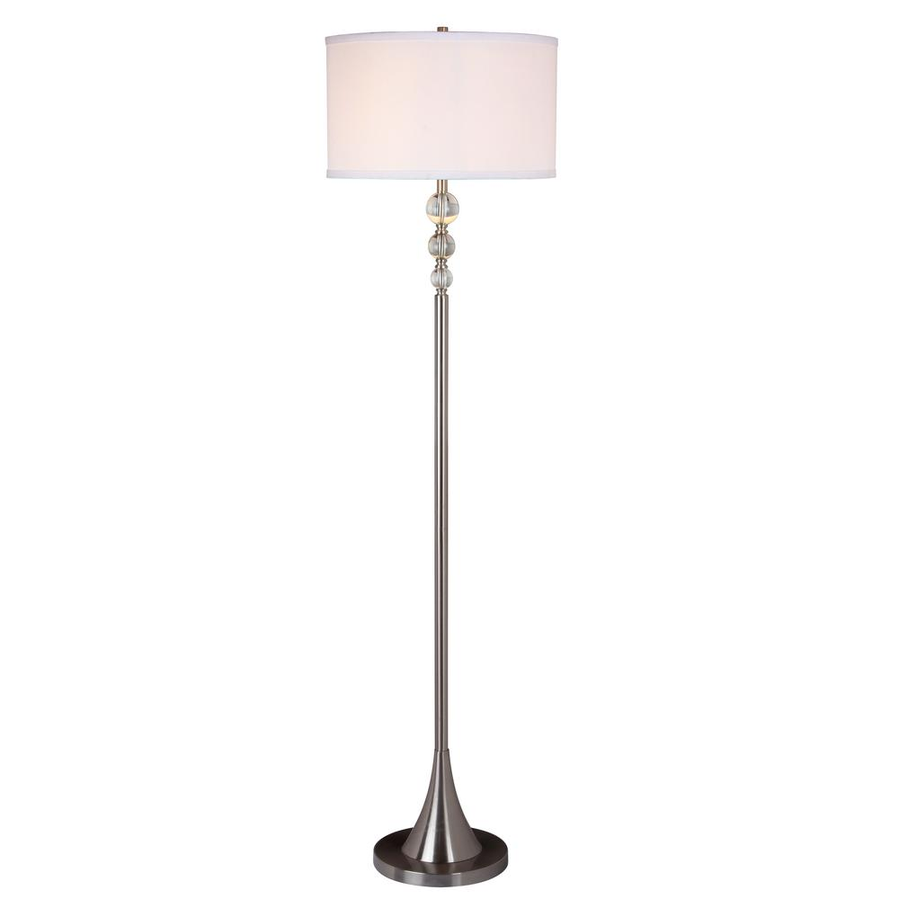Spheres 60 in. Stylish Satin Nickel Floor Lamp with Real Clear
