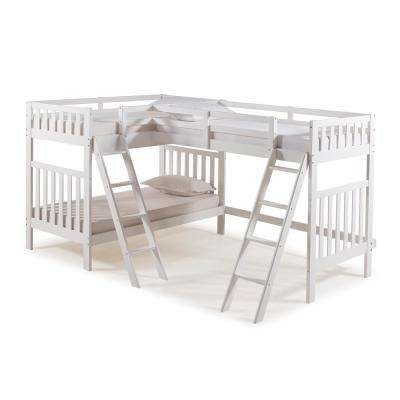 Aurora White Twin Over Twin Bunk Bed with Third Bunk Extension