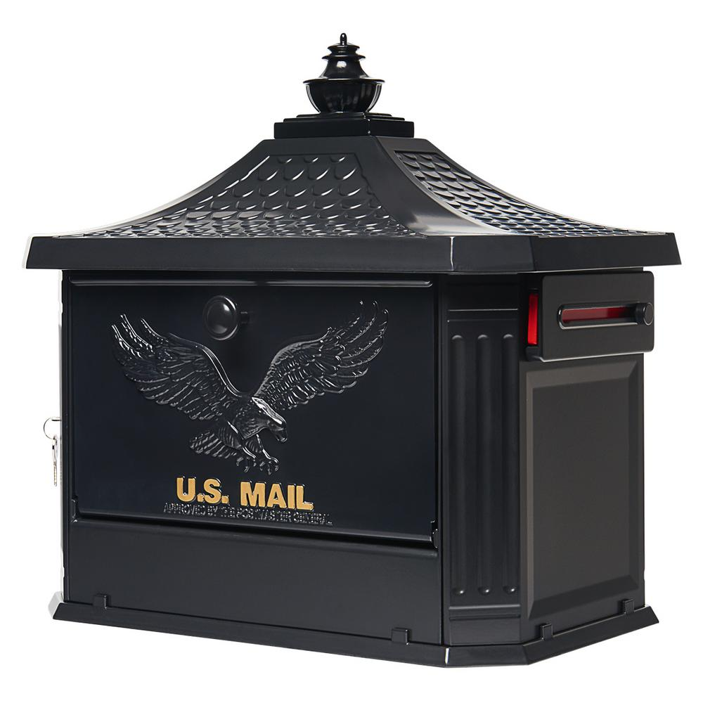 Gibraltar Mailboxes Hamilton Black Locking Aluminum Large Post-Mount Mailbox