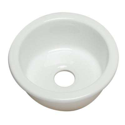 Drop In Fireclay 17 in. Single Bowl Kitchen Sink in White