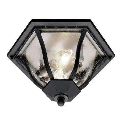 Stewart 2-Light Outdoor Black Incandescent Flush Mount