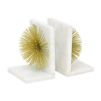 6.5 in. White Metal/Marble Bookends (Set of 2)