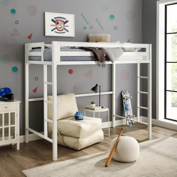 Transitional Premium Deluxe Twin Metal Loft Bed - White