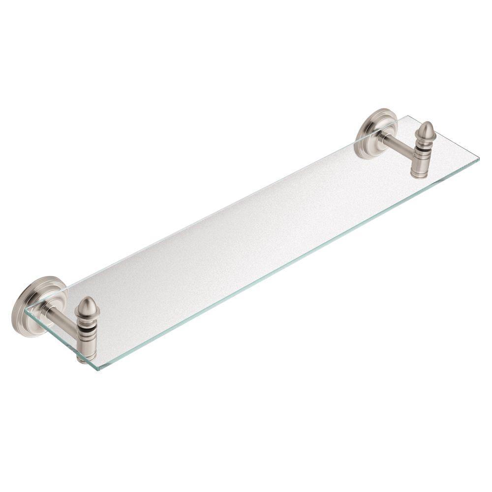 MOEN Stockton 22-3/4 in. W Glass Bath Shelf in Brushed Nickel