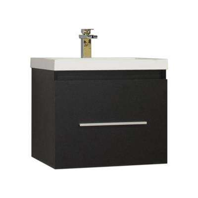 The Modern 23.5 in. W x 18.75 in. D Bath Vanity in Black with Acrylic Vanity Top in White with White Basin