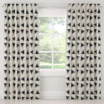 50 in. W x 120 in. L Unlined Curtains in Triangle Tile Black White