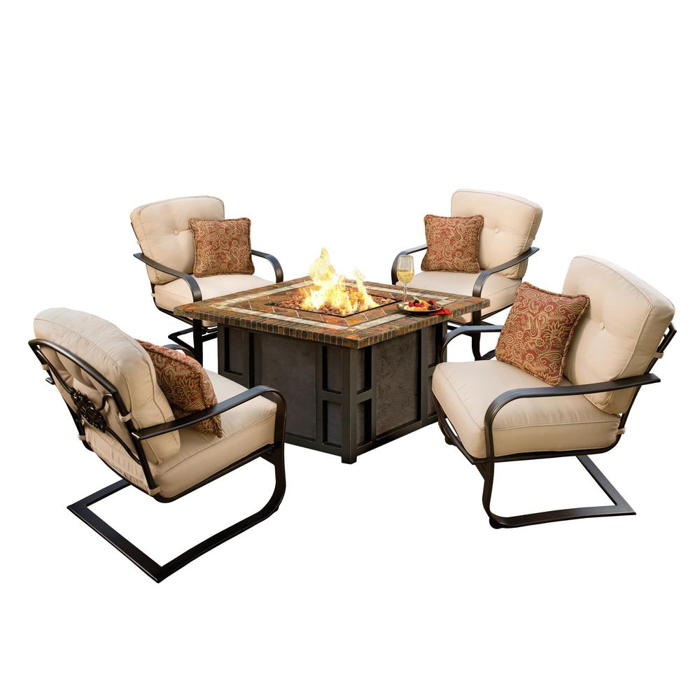 Maris Square 5-Piece Patio Firepit Conversation Set with Oatmeal Cushions