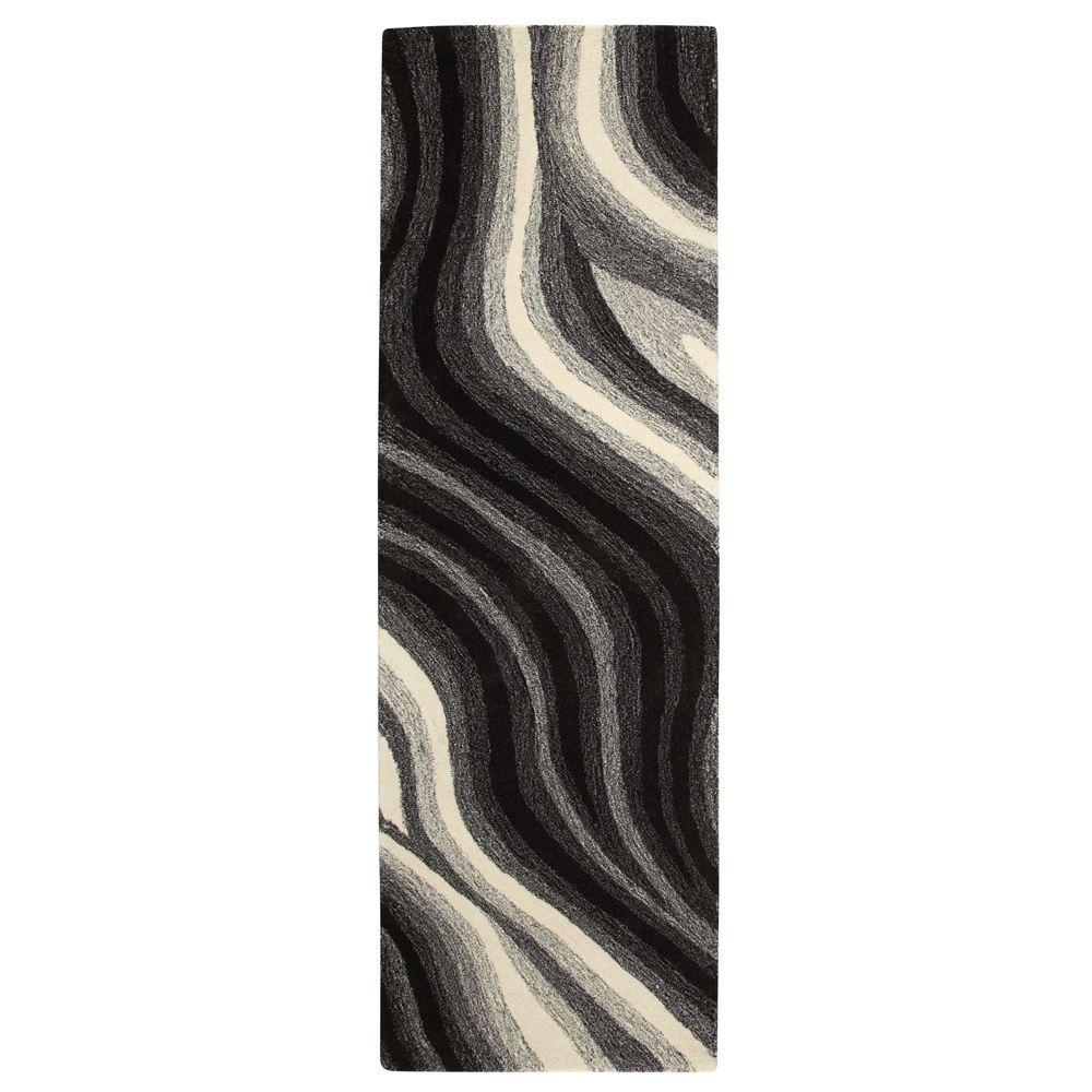 Rush Black/White 3 ft. x 8 ft. Runner Rug