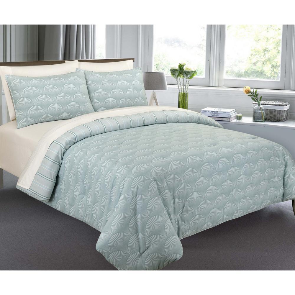 Modernist Modern Fanfair Turquoise King Comforter Set