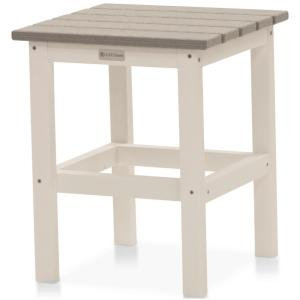 Icon White and Driftwood Gray Square Plastic Outdoor Side Table