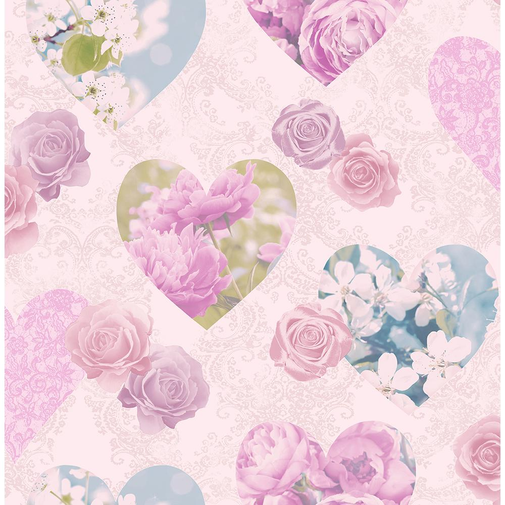 Fine Decor 56 4 Sq Ft Amour Pink Floral Hearts Wallpaper 2900