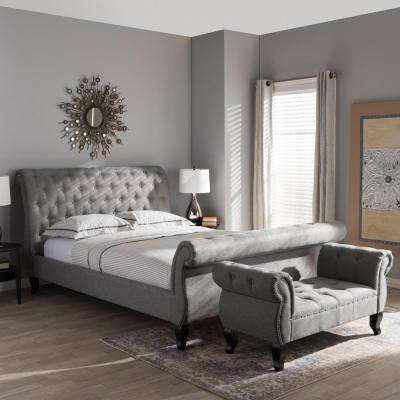 Antoinette Transitional Gray Fabric Upholstered King Size Bed