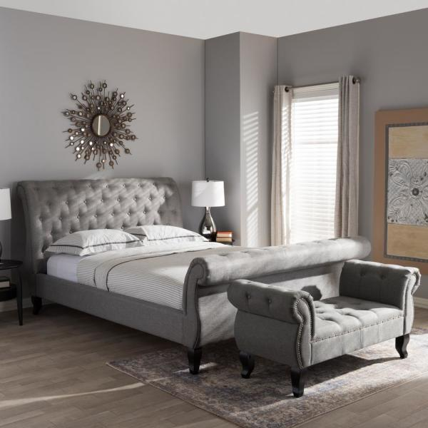 Baxton Studio Antoinette Transitional Gray Fabric Upholstered King Size Bed