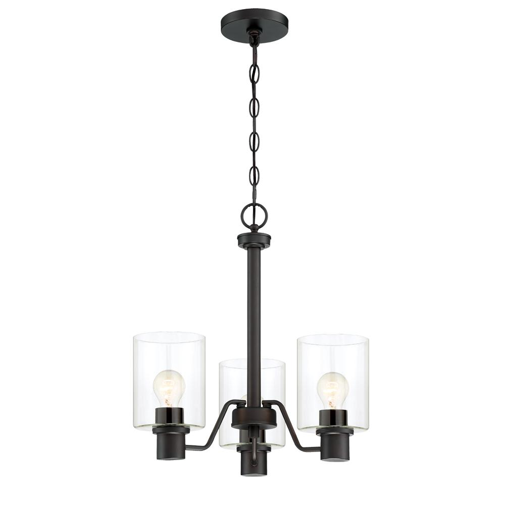 Cordelia Lighting 3-Light Satin Bronze Chandelier with Clear Glass Shades