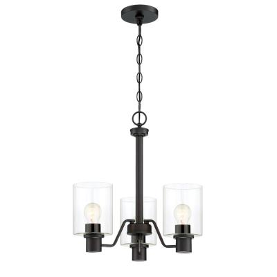 3-Light Satin Bronze Chandelier with Clear Glass Shades
