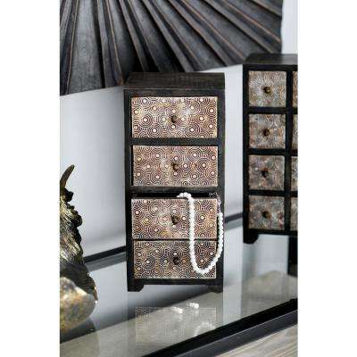 Dark Brown Rectangular Jewelry Chest with 4-Drawers